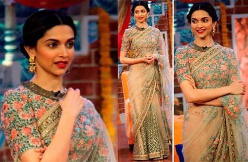 Deepika Padukone In Floral Saree