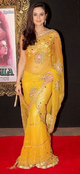 Preity Zinta In Yellow Saree