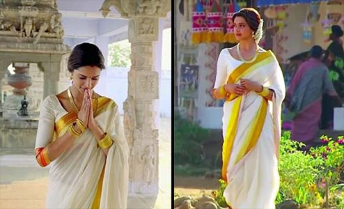 Bollywood Actress Deepika Padukone In White Saree In Chennai Express Movie
