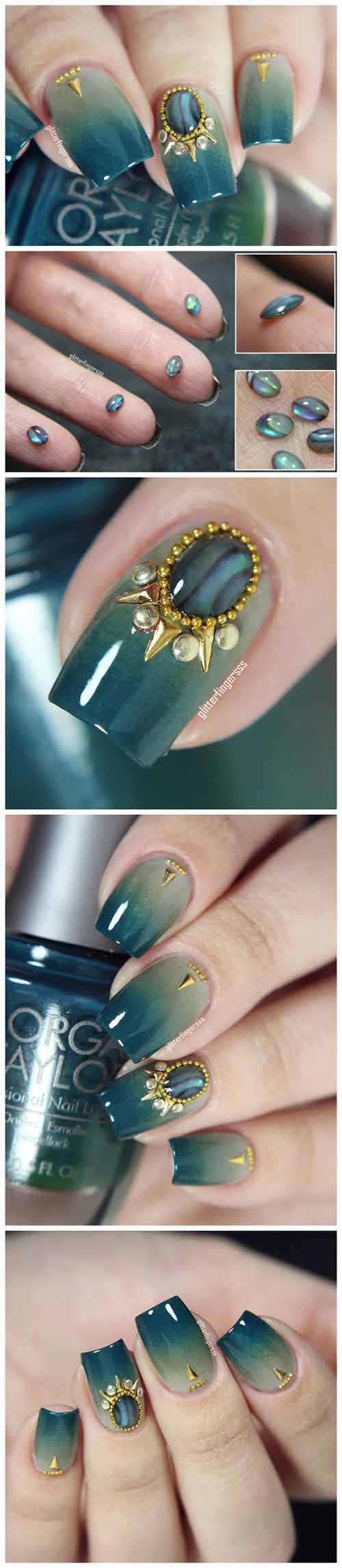 Beautiful 3D Nail Art Tutorials - 1. Emerald-Toned 3D Nails