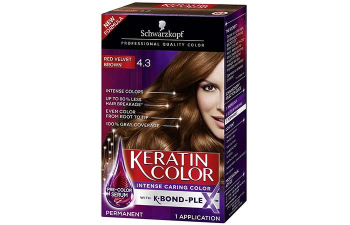 10. Schwarzkopf Keratin Color Intense Caring Color – Red Velvet Brown
