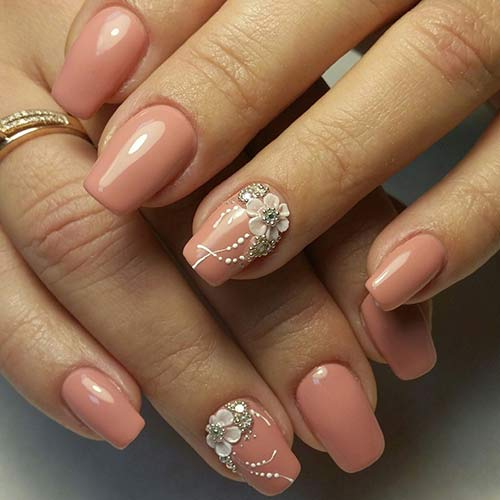 Most Beautiful 3D Nail Art Tutorials - 4. 3D Beige Nails