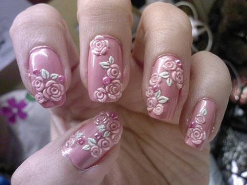 3D Rose Nail Art Design - 30 Stunning DIY 3D Nail Designs For Beginners Of 2018