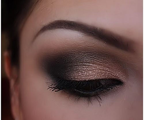 Sexy Eye Makeup Pictures - Black & Bronze Eye Makeup Look