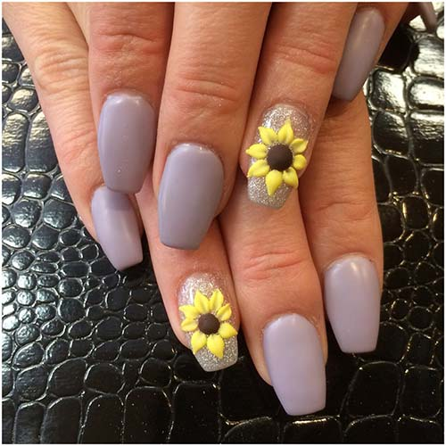 Stunning 3D Flower Nail Art Design - 3D Sunflower Nail Art