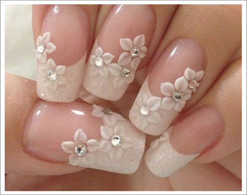 Beautiful 3D Flower Nail Design - 3D French Flower Nail Art