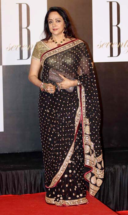 Hema Malini In Black Saree