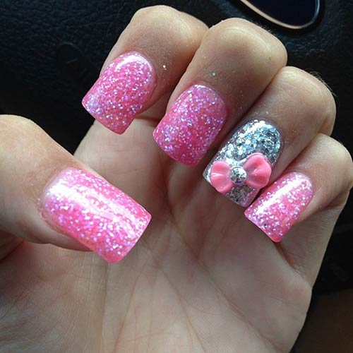 30 stunning diy 3d nail designs for beginners of 2018 beautiful 3d nail art tutorials pink and silver glitter bow prinsesfo Image collections