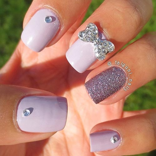 Beautiful 3D Nail Art Tutorials - Lavender And Silver Bow