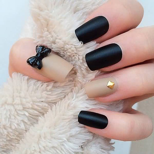 Beautiful 3D Nail Art Tutorials - 23. Black and Beige Bow 3D Nail Art