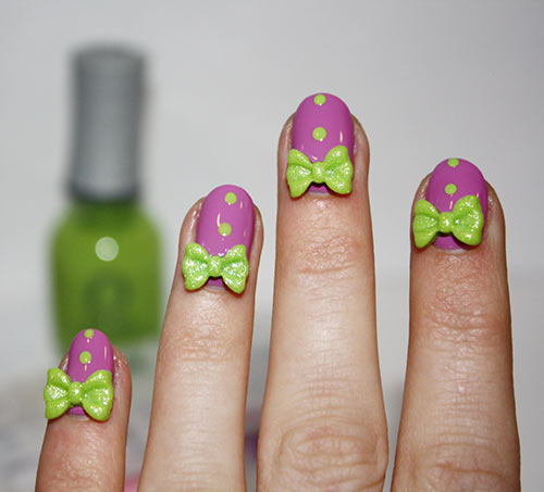 Beautiful 3D Nail Art Tutorials - 24. 3D Purple And Green Bow Tie Nails - Top 30 3D Nail Art Designs - Step By Step Tutorials And Pictures