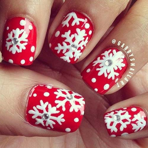 Beautiful 3D Christmas Nail Design - 20. 3D Snowflakes Nail Art