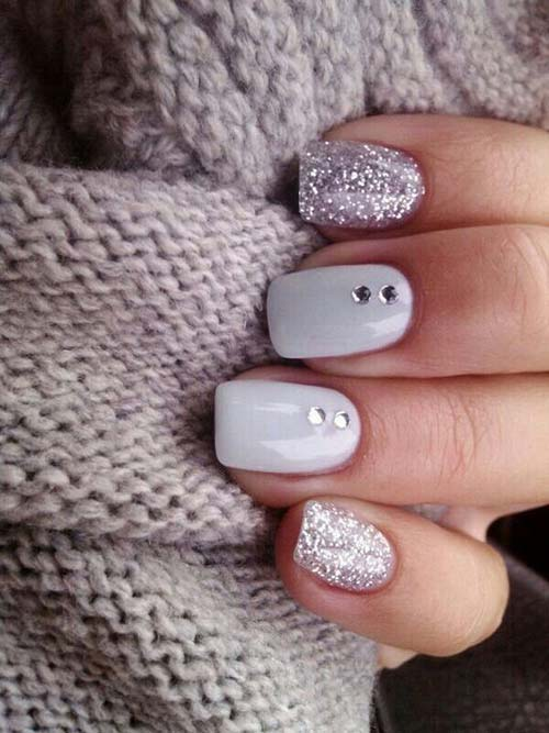 Cute 3D Nail Designs -8. Silver Winter Nails
