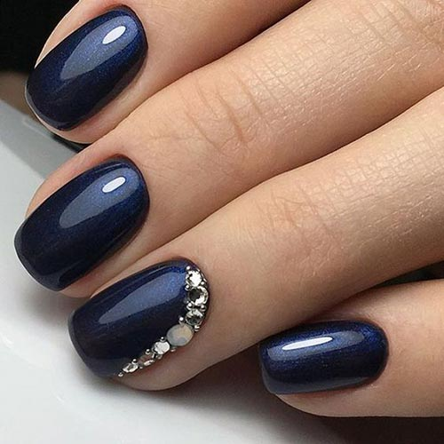 9. Dark Blue Jewel-Studded 3D Nails