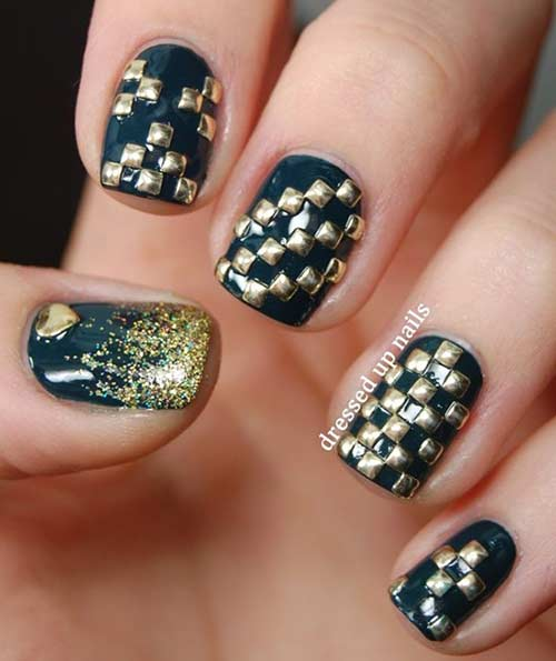 6. 3D Black And Gold Checkered Nail Art