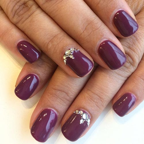 3D Plum Plus Rhinestones Nails