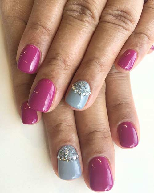 3D Fuschia And Grey Rhinestones Nail Art