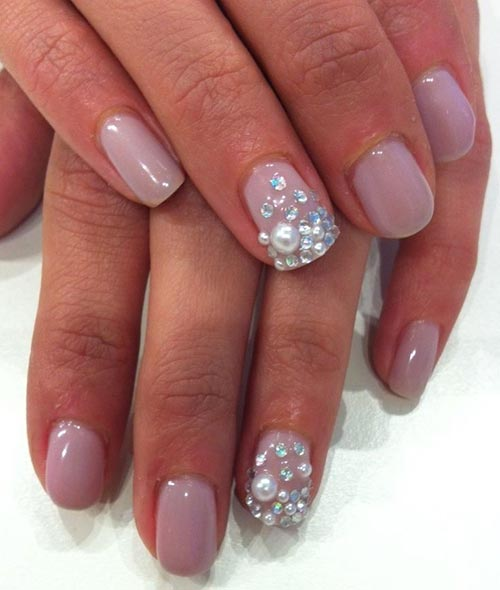 11. 3D Jewels And Soft Pink Nail Art