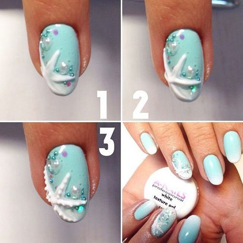 Beautiful 3D Nail Art Tutorials - 2. 3D Sea Blue Nail Art