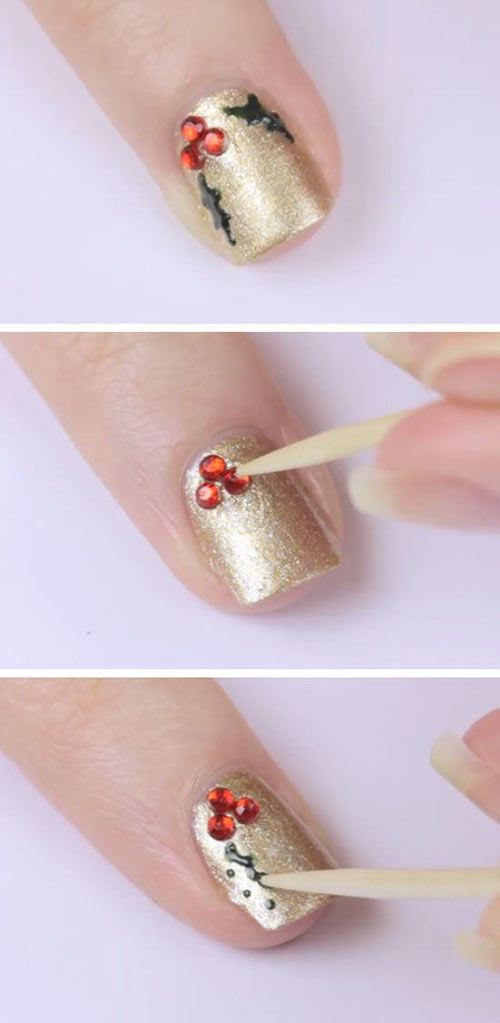 Beautiful 3D Christmas Nail Design - Christmas 3D Nail Art