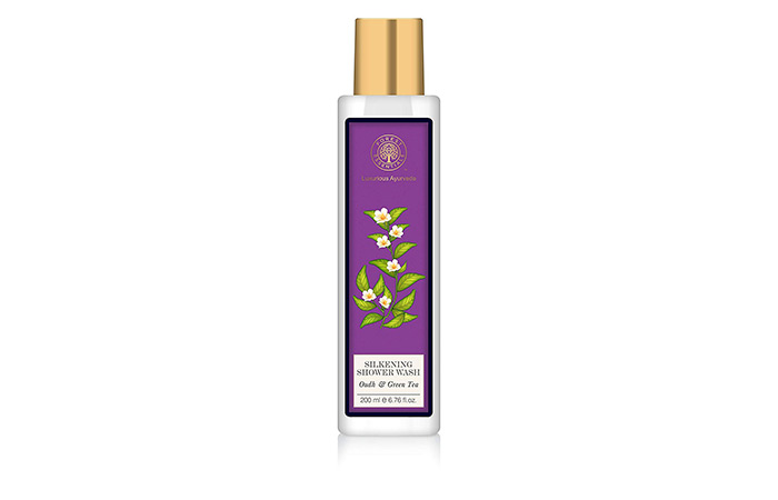 6. Forest Essentials Silkening Shower Wash Oudh & Green Tea