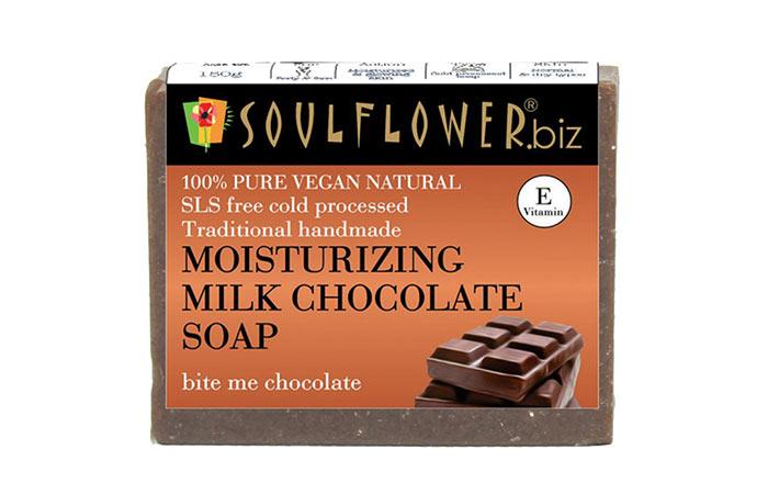 6. Soulflower Moisturizing Milk Chocolate Soap