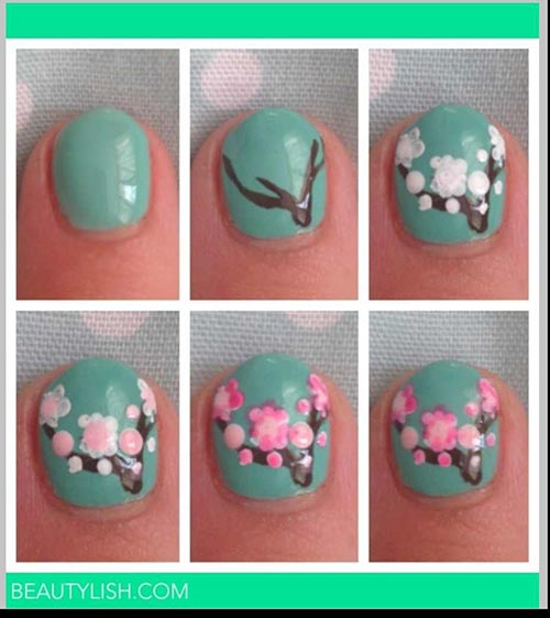 Beautiful 3D Nail Art Tutorials - 25. 3D Embossed Spring Nail Art For Short Nails