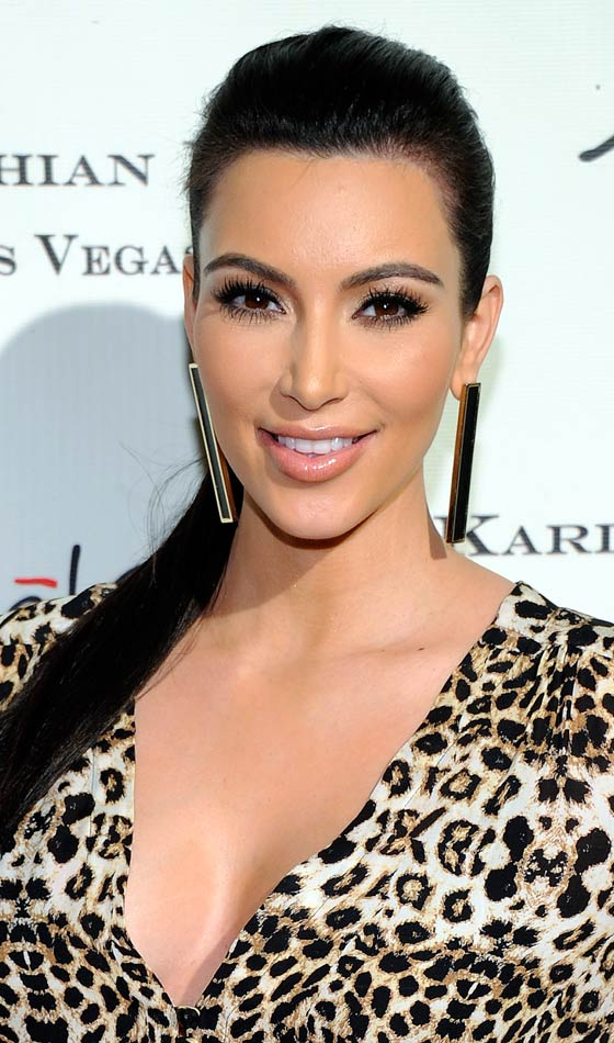 Kim Kardashian's Elegant Long, Sleek Dark Ponytail