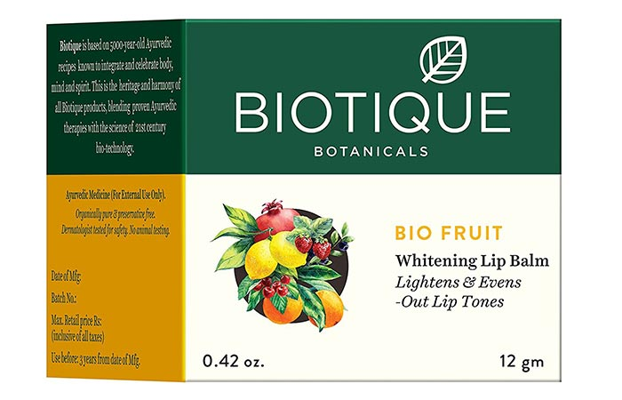 8. Biotique Bio Fruit Whitening Lip Balm