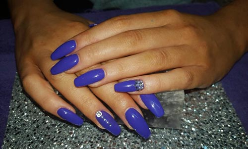 Beautiful 3D Nail Art Tutorials - 27. Minimal Beaded Blue Acrylic Nails