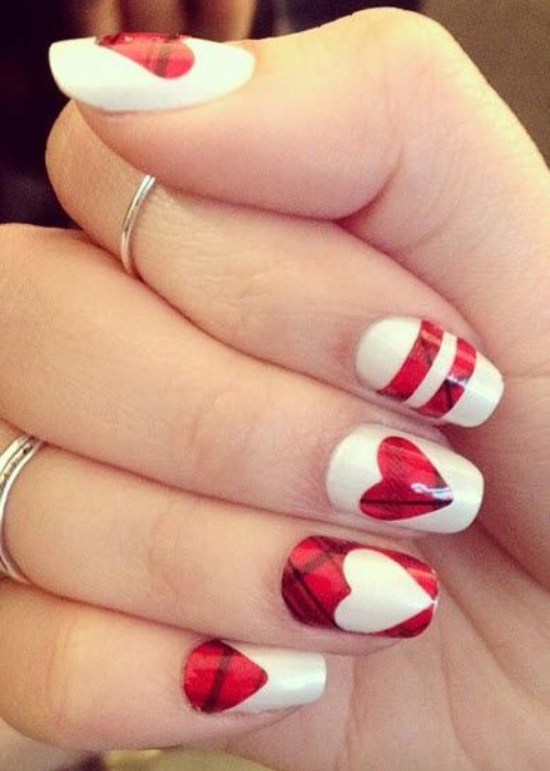 A Very Plaid Valentines Day Nail Design