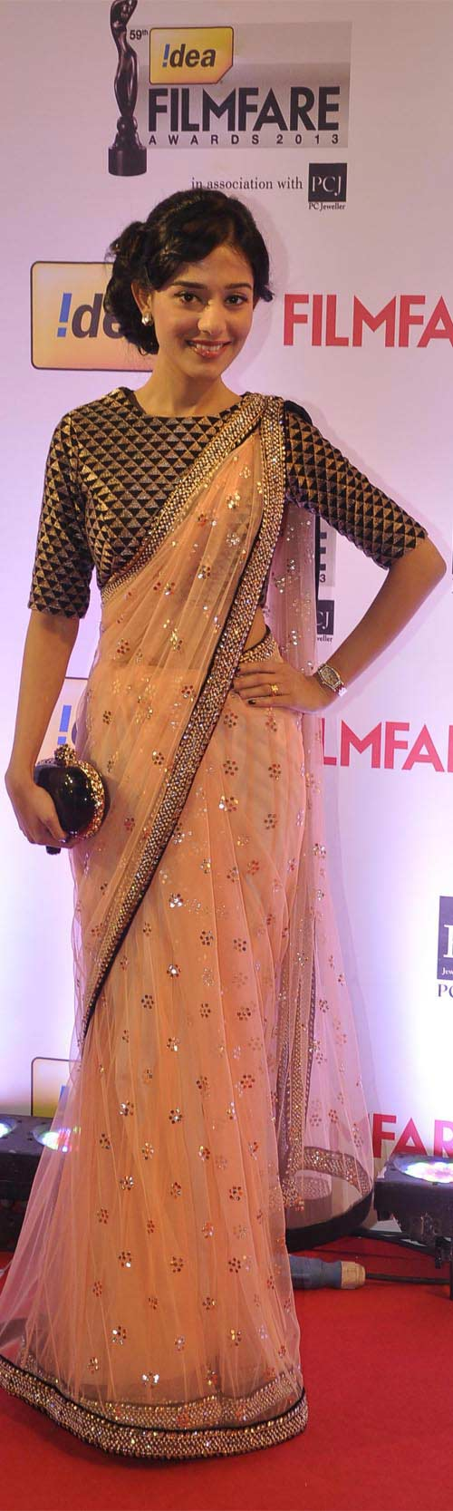 Amrita Rao In Peach Saree