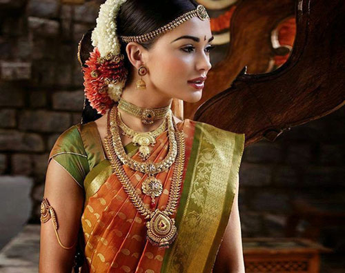 Amy Jackson In Orange and Green Saree
