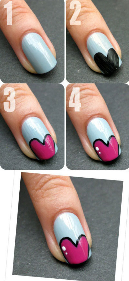 Animated Hearts Nail Design