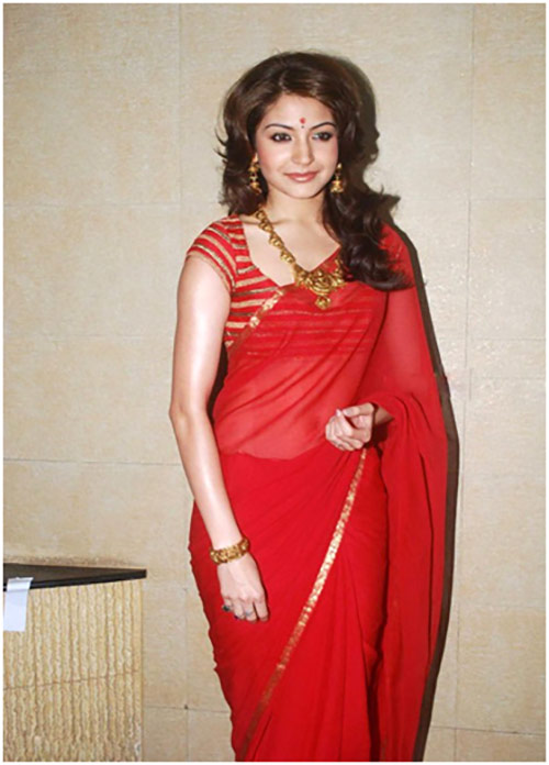 Anushka Sharma In A Red Saree