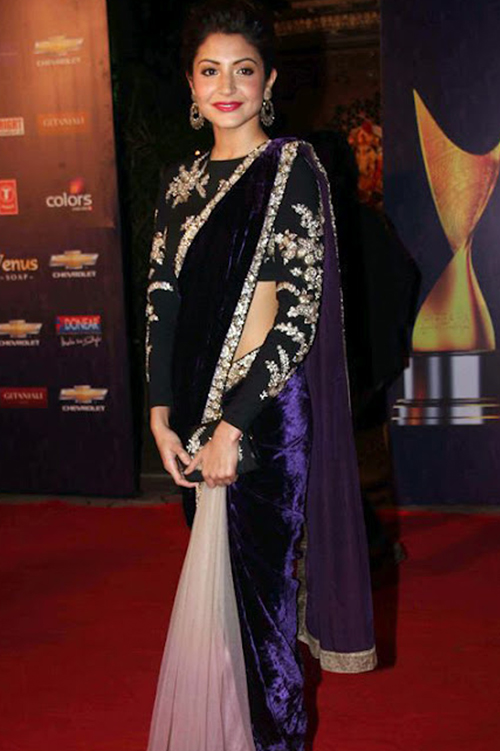 Anushka Sharma In Velvet Saree