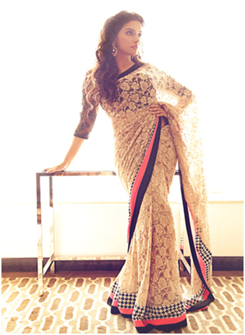 Asin In Off-White Saree
