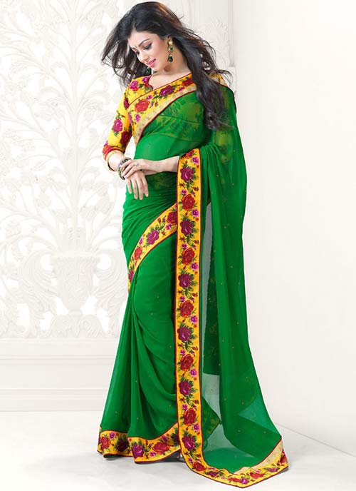 Ayesha Takia Green Saree Look