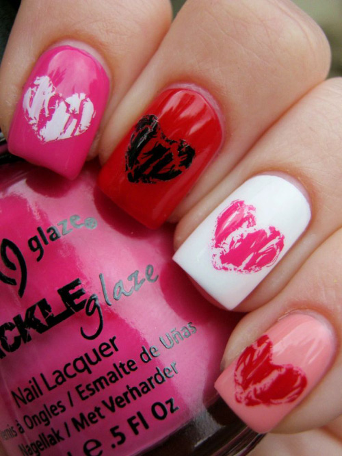 Crackled Hearts Nail Design