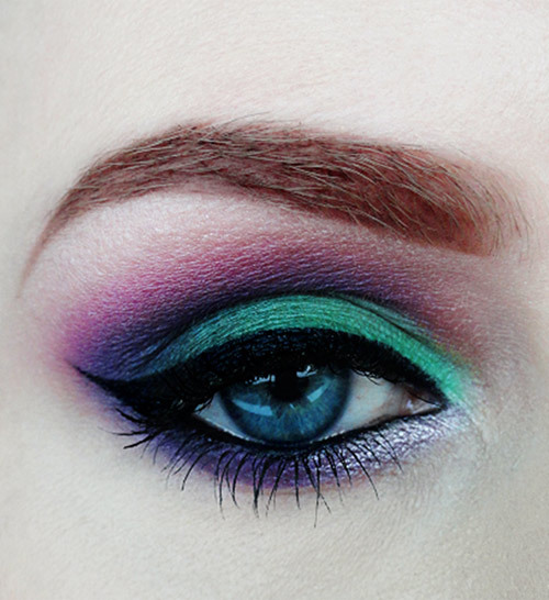 Cute Eye Makeup Pics - Dark Green and Purple Eyes Look