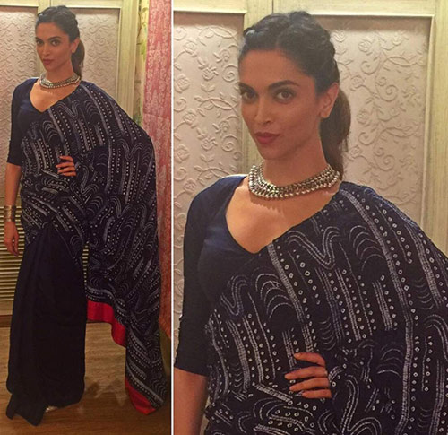 Bollywood Actress Deepika Padukone In Black And White Saree