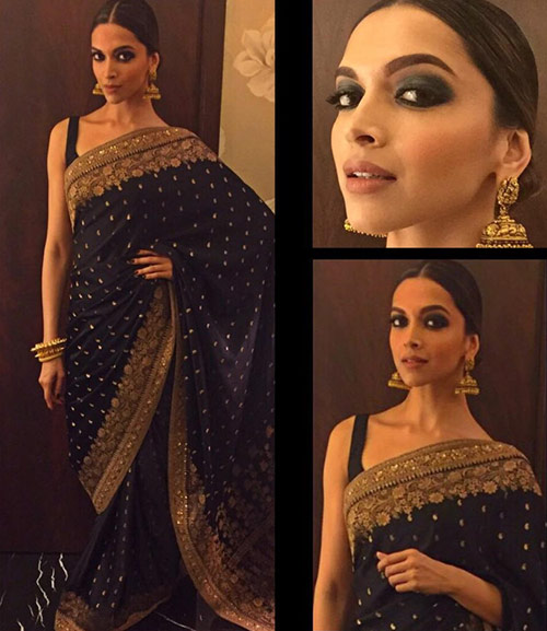 Top Bollywood Actress Deepika Padukone In Black Saree