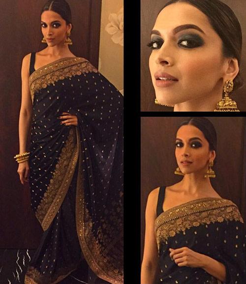 Top Bollywood Actress Deepika Padukone In Black Saree