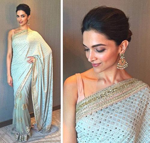 Top Hindi Actress Deepika Padukone In Cream Saree
