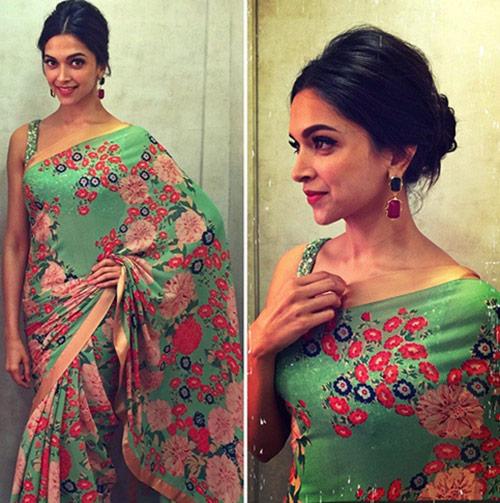 Bollywood Actress Deepika Padukone In Green Colored Saree