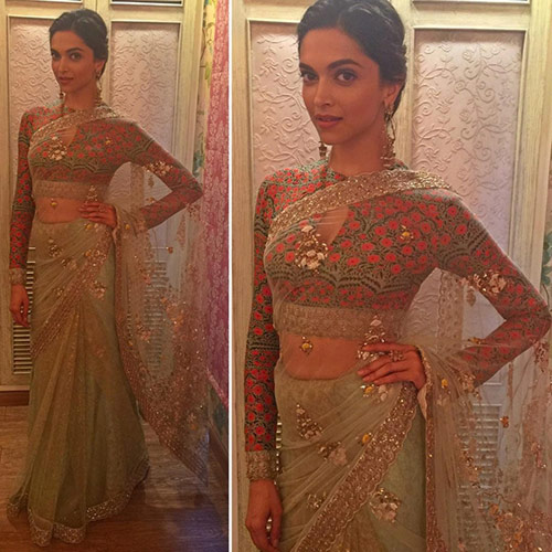 Bollywood Actress Deepika Padukone In Net Saree