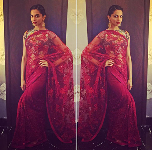 Hindi Actress Deepika Padukone In Red Saree
