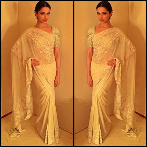 Bollywood Heroine Deepika Padukone In White Embroidered Saree