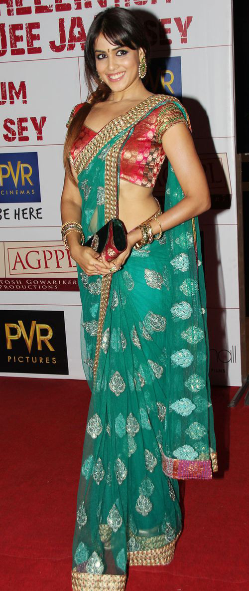 Genelia D'Souza In Green Saree