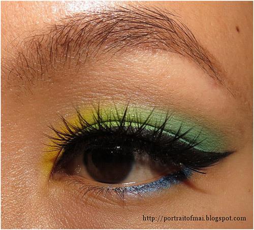 yellow and green eye makeup